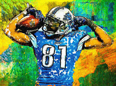 Detroit Lions Painting - Calvin Is Muscles by John Farr