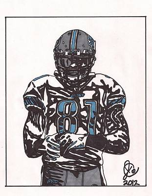 Detroit Lions Drawing - Calvin Johnson Jr  by Jeremiah Colley