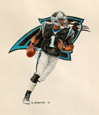 Newton Painting - Cam Newton - Carolina Panthers by David Straitiff