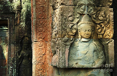Carving In Stone Photograph - Cambodia Angkor Wat 1 by Bob Christopher