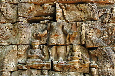Carving In Stone Photograph - Cambodia Angkor Wat 3 by Bob Christopher