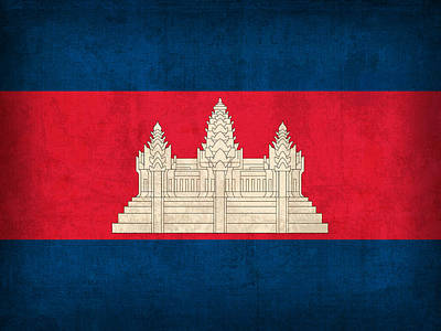 Cambodia Mixed Media - Cambodia Flag Vintage Distressed Finish by Design Turnpike