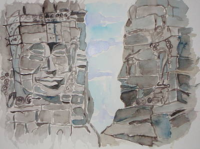 Cambodia Painting - Cambodian Buddhas by KD Martel