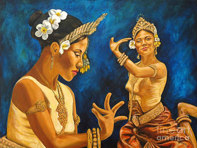 Cambodian Painting - Cambodian Dancers by Pat Haley