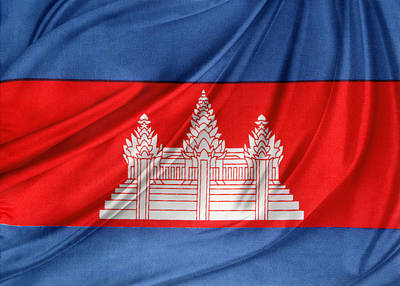 Waving Flag Photograph - Cambodian Flag by Les Cunliffe
