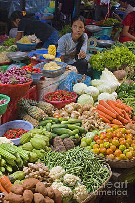 Photograph - Cambodian Vegetable Market by Craig Lovell