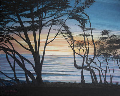 Cambria Cypress Trees At Sunset Art Print by Ian Donley