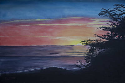 Cambria Setting Sun Art Print by Ian Donley