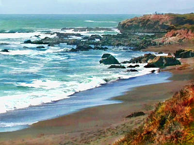 Sand Dunes Painting - Cambria Shoreline In The Fall by Elaine Plesser