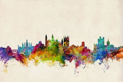 Silhouette Digital Art - Cambridge England Skyline by Michael Tompsett