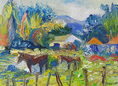 Cambridge Horses Original Artwork By Ekaterina Chernova Art Print