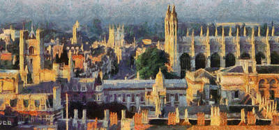 Cambridge University Painting - Cambridge Panorama by Georgi Dimitrov