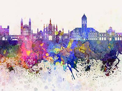 Cambridge Painting - Cambridge Skyline In Watercolor Background by Pablo Romero