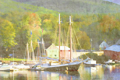 Maine Landscapes Digital Art - Camden Harbor Maine by Carol Leigh