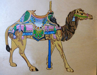 Camel Carousel Animal Pyrographic Wood Burn Art Original 15.5 X 15.5 Inch Complete With Frame  Original by Shannon Ivins