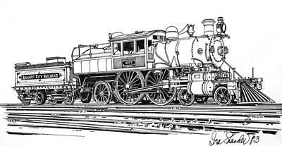 Drawing - Camelback Engine Number 1027 by Ira Shander