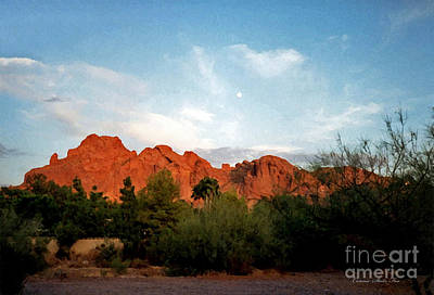 Camelback Mountain And Moon Art Print