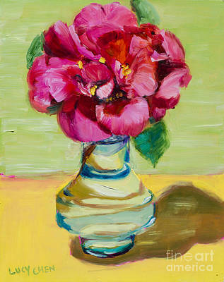 Painting - Camellia In A Small Vase by Lucy Chen
