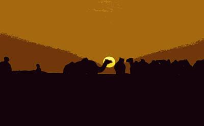 Sahara Mixed Media - Camels At Sunset by Anthony Dalton