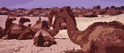 Sahara Mixed Media - Camels At Timbuktu by Anthony Dalton