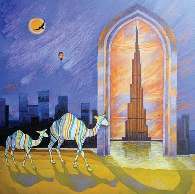 Dubai Skyline Painting - Camels In The Wonderland  by Art Tantra