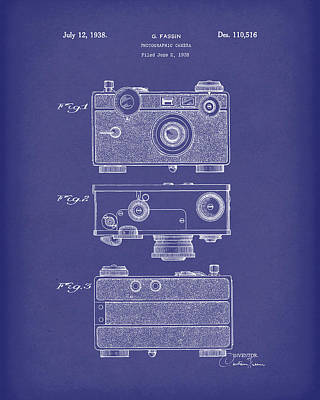 Drawing - Camera 1938 Patent Art Blue by Prior Art Design