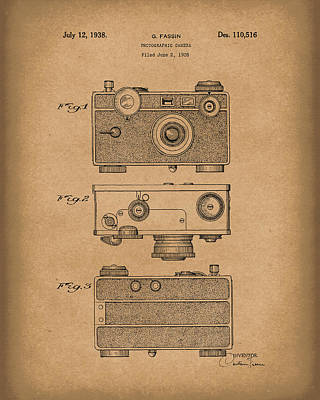 Camera 1938 Patent Art Brown Art Print by Prior Art Design