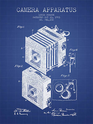 Camera Apparatus Patent From 1903 - Blueprint Art Print by Aged Pixel