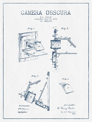 Camera Obscura Patent Drawing From 1881 - Blue Ink Art Print by Aged Pixel