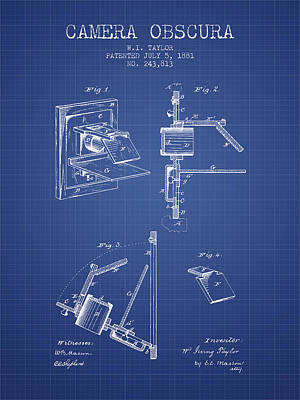 Camera Digital Art - Camera Obscura Patent From 1881 - Blueprint by Aged Pixel