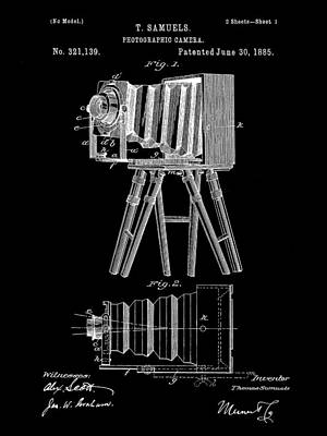 Nikon Digital Art - Camera Patent 1885 - Black by Stephen Younts