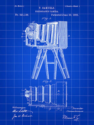 Nikon Digital Art - Camera Patent 1885 - Blue by Stephen Younts