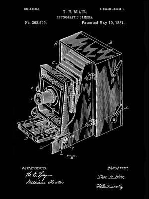 Nikon Digital Art - Camera Patent 1887 - Black by Stephen Younts