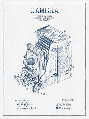 Camera Patent Drawing From 1887 - Blue Ink Art Print by Aged Pixel