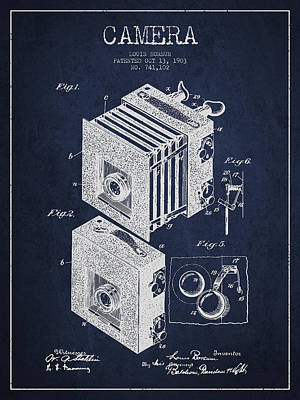 Film Camera Digital Art - Camera Patent Drawing From 1903 by Aged Pixel