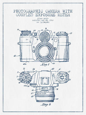 Camera Patent Drawing From 1962- Blue Ink Art Print by Aged Pixel