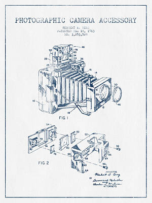 Vintage Camera Digital Art - Camera Patent Drawing From 1963- Blue Ink by Aged Pixel