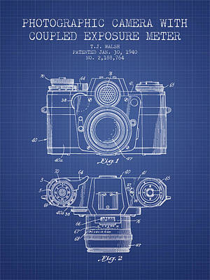 Camera Digital Art - Camera Patent From 1962 - Blueprint by Aged Pixel