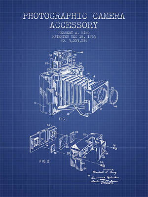 Camera Patent From 1963 - Blueprint Art Print by Aged Pixel