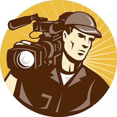 Crew Digital Art - Cameraman Film Crew Pro Video Movie Camera by Aloysius Patrimonio