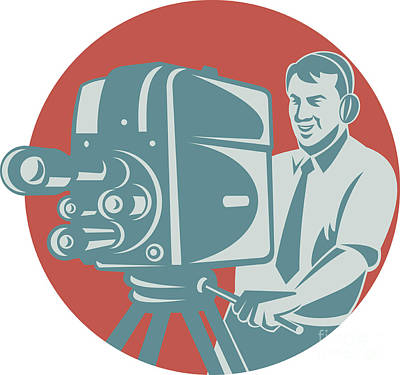 Wall Art - Digital Art - Cameraman Filming With Vintage Tv Camera by Aloysius Patrimonio