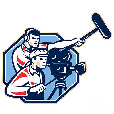 Microphone Digital Art - Cameraman Vintage Camera Soundman Boom Retro by Aloysius Patrimonio