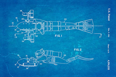Navy Officer Photograph - Cameron Underwater Dolly System Patent Art 1991 Blueprint by Ian Monk