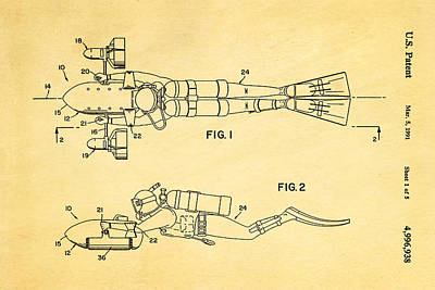 Navy Officer Photograph - Cameron Underwater Dolly System Patent Art 1991 by Ian Monk