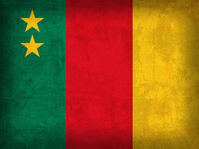 Cameroon Flag Vintage Distressed Finish Art Print
