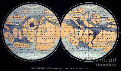 Camille Flammarion Mars Map 1876 Art Print by Science Source