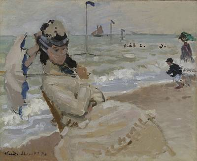 Umbrella Painting - Camille On The Beach In Trouville, 1870 by Claude Monet