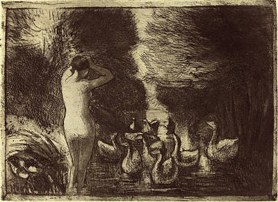 Camille Pissarro French, 1830 - 1903, Baigneuse Aux Oies Art Print by Quint Lox
