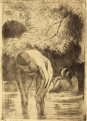 Camille Pissarro French, 1830 - 1903, Two Women Bathing Les Art Print by Quint Lox