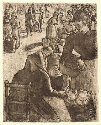 Vegetable Market Drawing - Camille Pissarro French, 1831 - 1903. Vegetable Market by Litz Collection